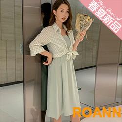 格紋襯衫外套+壓褶吊帶長款洋裝兩件套 (共二色)-ROANN