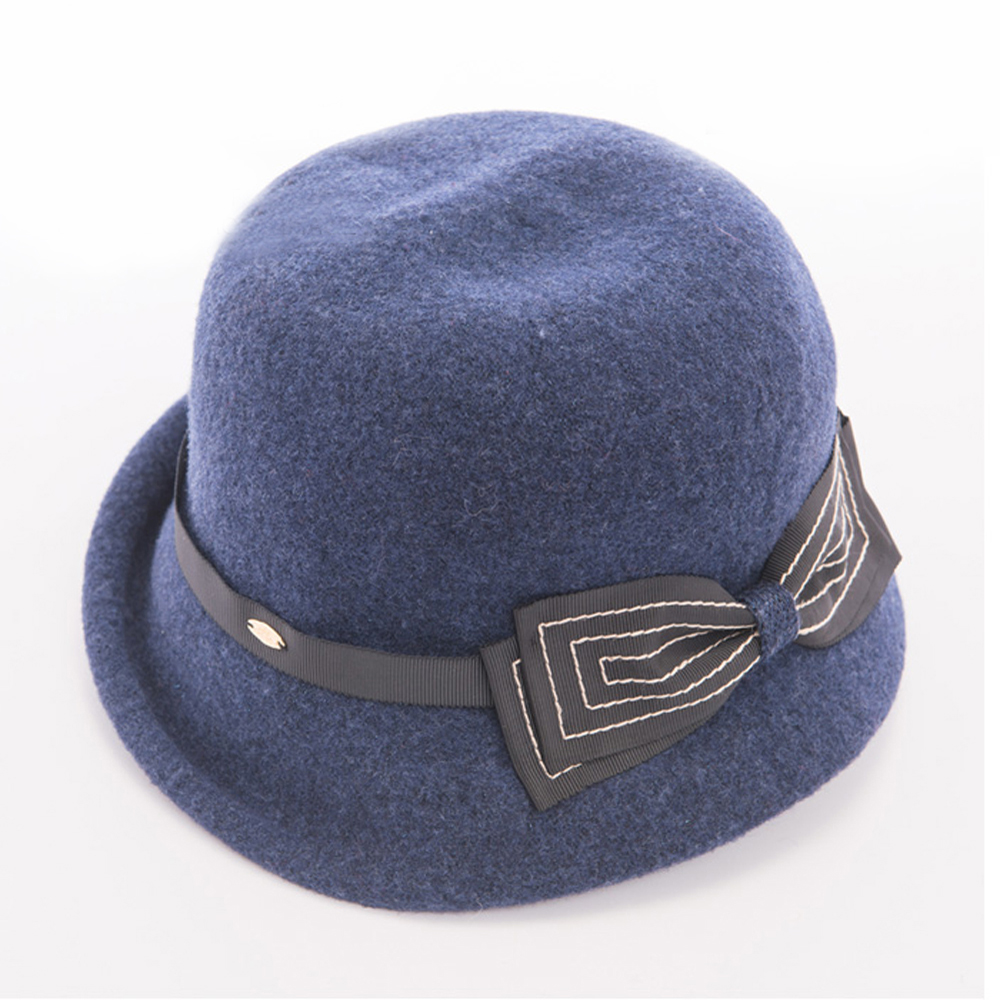 ELLE法式浪漫蝴蝶結羊毛毛呢帽_藍/灰