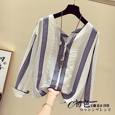 豎條紋雪紡V領襯衫-共2色(M-XL可選) 初色
