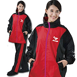 JUMP 將門配色口袋內裡兩件式套裝(黑紅)