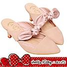HELLO KITTY X Ann'S毛茸茸粉紅高級蝴蝶結低跟穆勒鞋-粉