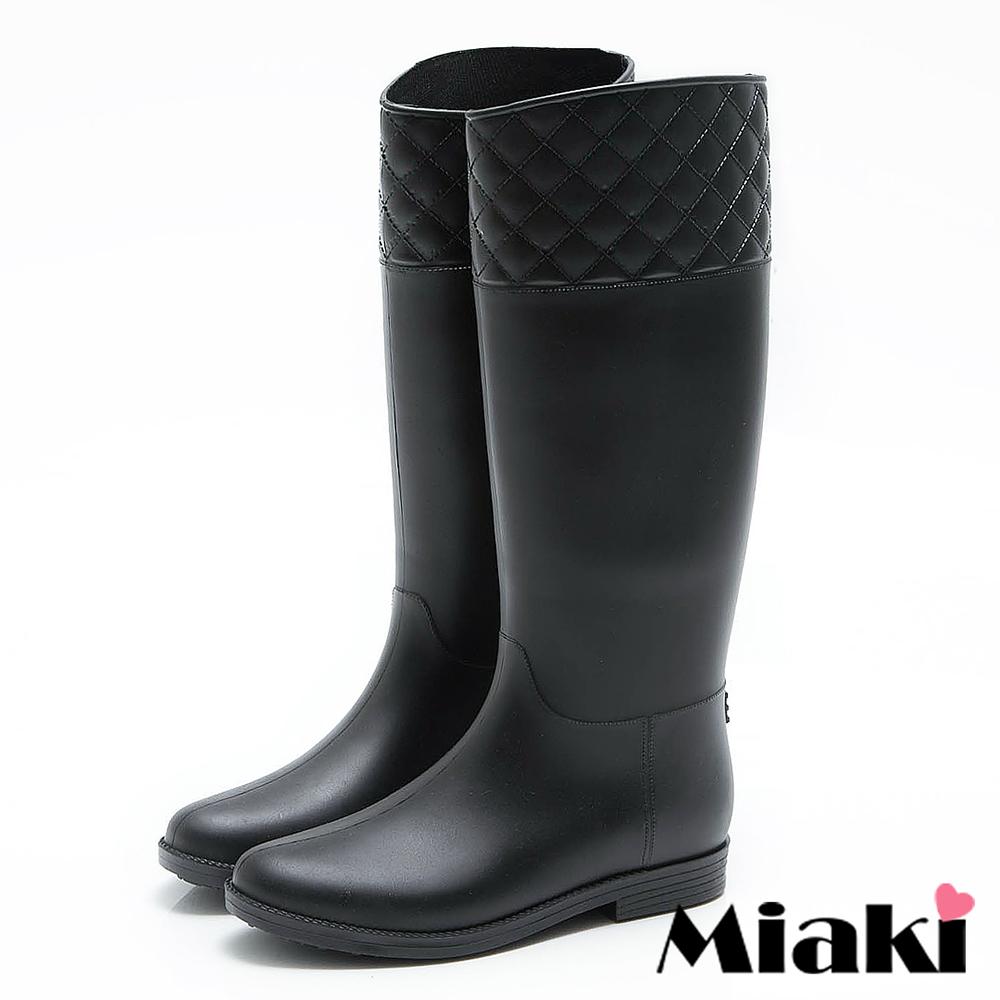 Miaki-雨靴日系素色菱格中筒低跟長靴