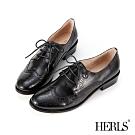 HERLS牛津鞋-全真皮雕花圓頭粗跟德比鞋牛津鞋-黑色