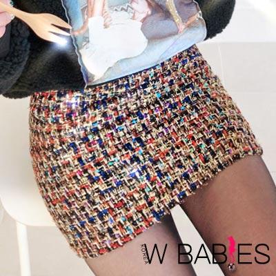 正韓 多彩混色針織包臀短裙 (黑色)-W BABIES