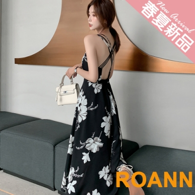 度假風V領大花印花美背長款洋裝 (共二色)-ROANN