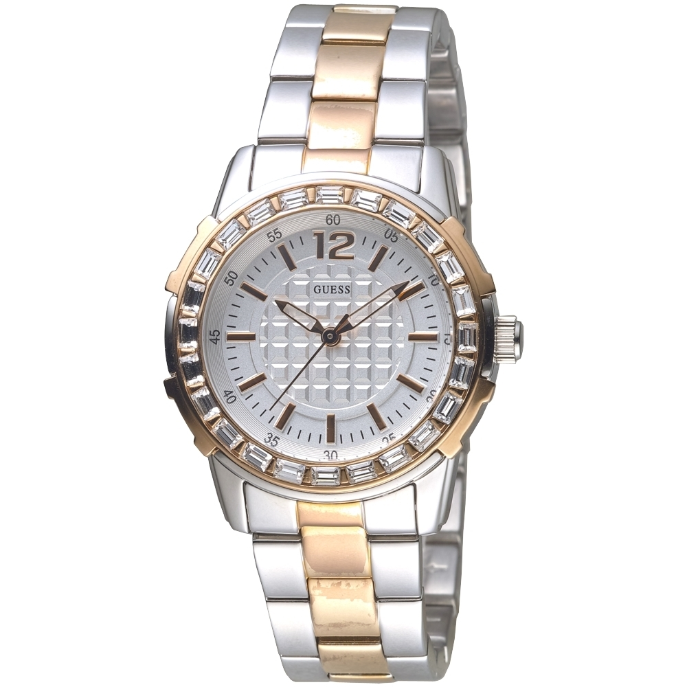 GUESS 浮誇閃耀晶鑽玫瑰金手錶-中金-GWW0018L3-36mm