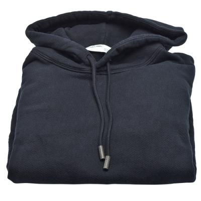 OFF-WHITE 箭頭指示圖案棉質長袖厚版連帽T恤(黑)