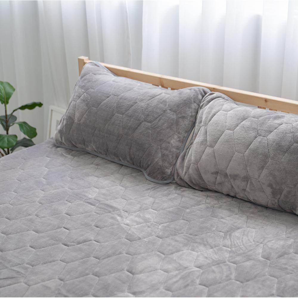 Adorar愛朵兒 典藏原色法蘭絨平單式兩用保暖枕墊-灰(2入)