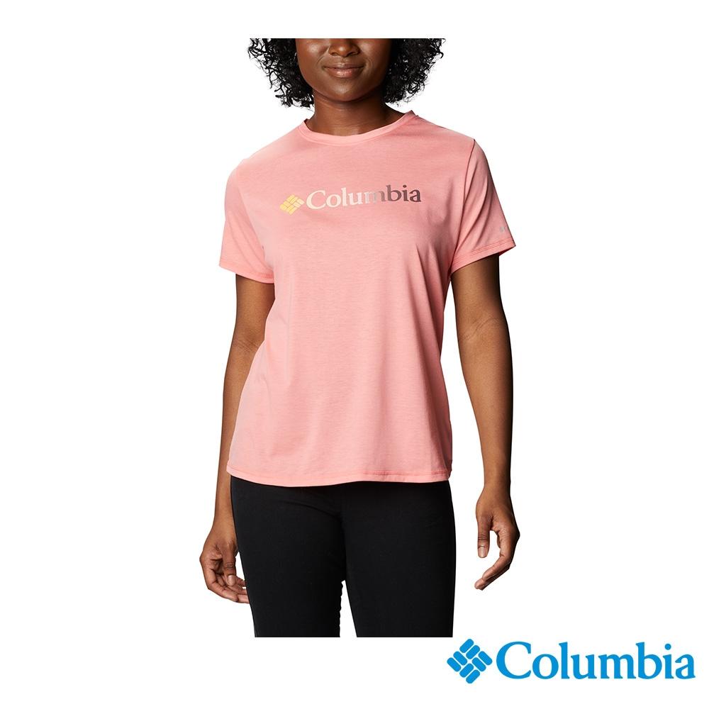 Columbia 哥倫比亞 女款- UPF50快排LOGO短袖上衣-5色  UAR21910 (粉紅)