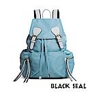 BLACK SEAL 休閒雙扣細尼龍軍旅後背包- 湖藍 BS83111