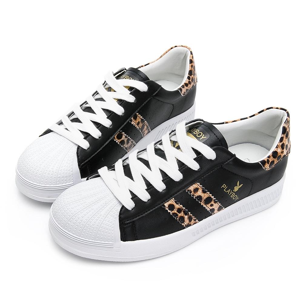 PLAYBOY 豹紋條紋仿皮休閒鞋-黑豹-Y6319JN