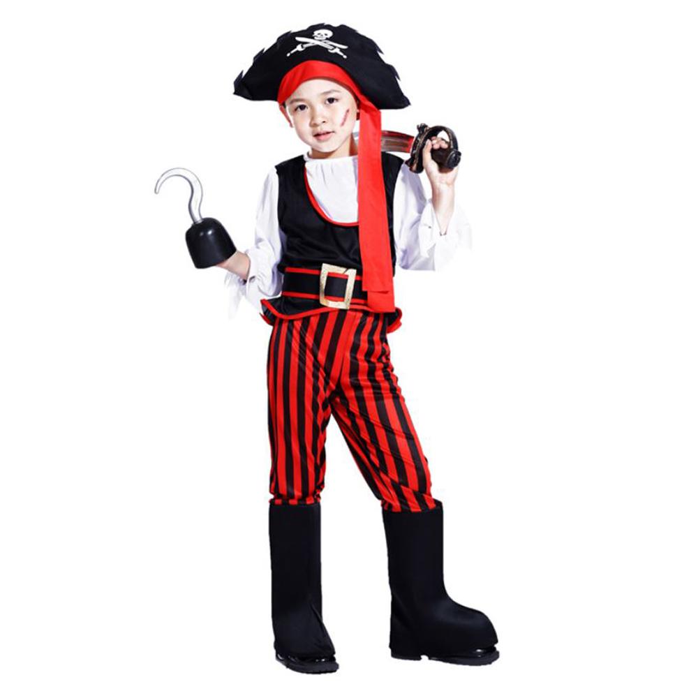 摩達客兒童派對變裝cosplay萬聖節化妝舞會-加勒比海傑克船長海盜服裝四件組