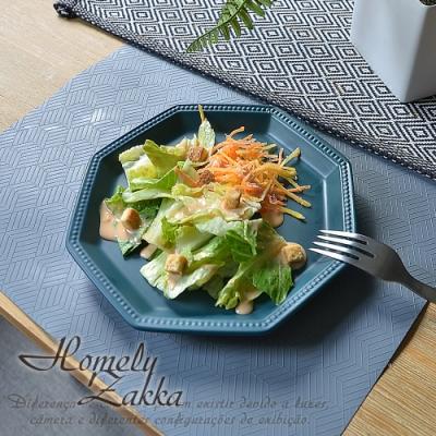 Homely Zakka 北歐簡約啞光色釉八角新骨瓷餐盤/點心盤/水果盤19.5cm(5色任選)