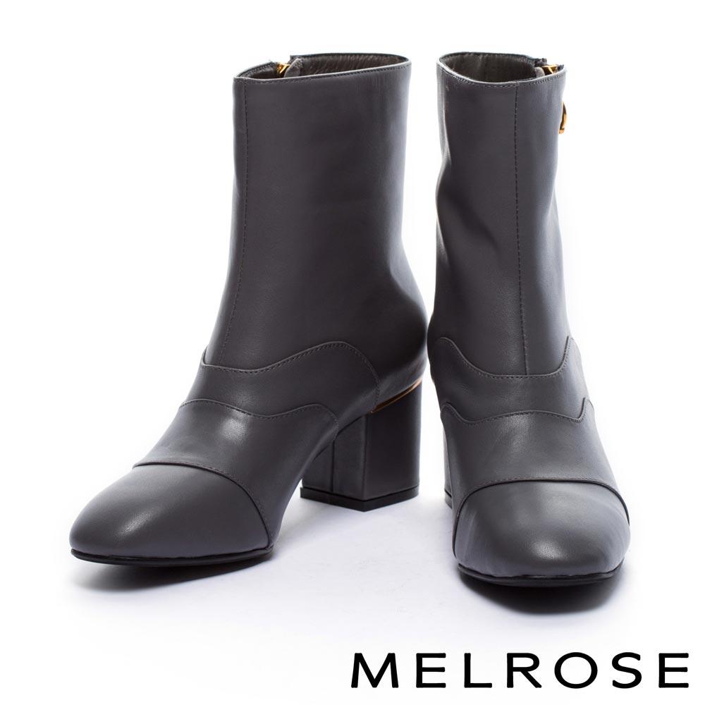 短靴 MELROSE 都會率性斜金屬拉鍊牛皮粗高跟短靴-灰