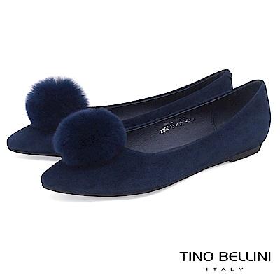 Tino Bellini 舒柔氣質毛球全真皮平底娃娃鞋 _ 藍