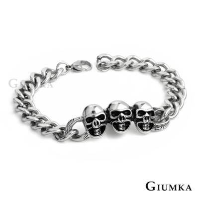 GIUMKA骷髏白鋼手鍊仿舊刷黑中性男手鏈