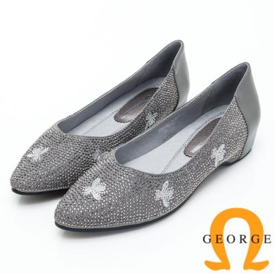 【GEORGE 喬治皮鞋】花瓣水鑽尖頭平底娃娃鞋-灰色