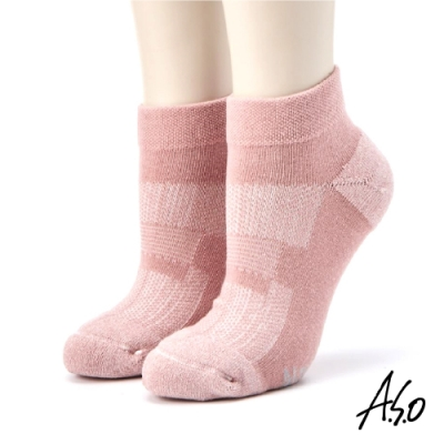 A.S.O長效抑菌系列-素面氣墊短襪-粉紅