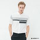 Hang Ten - 男裝 - 拼接色塊簡約短袖襯衫 - 白