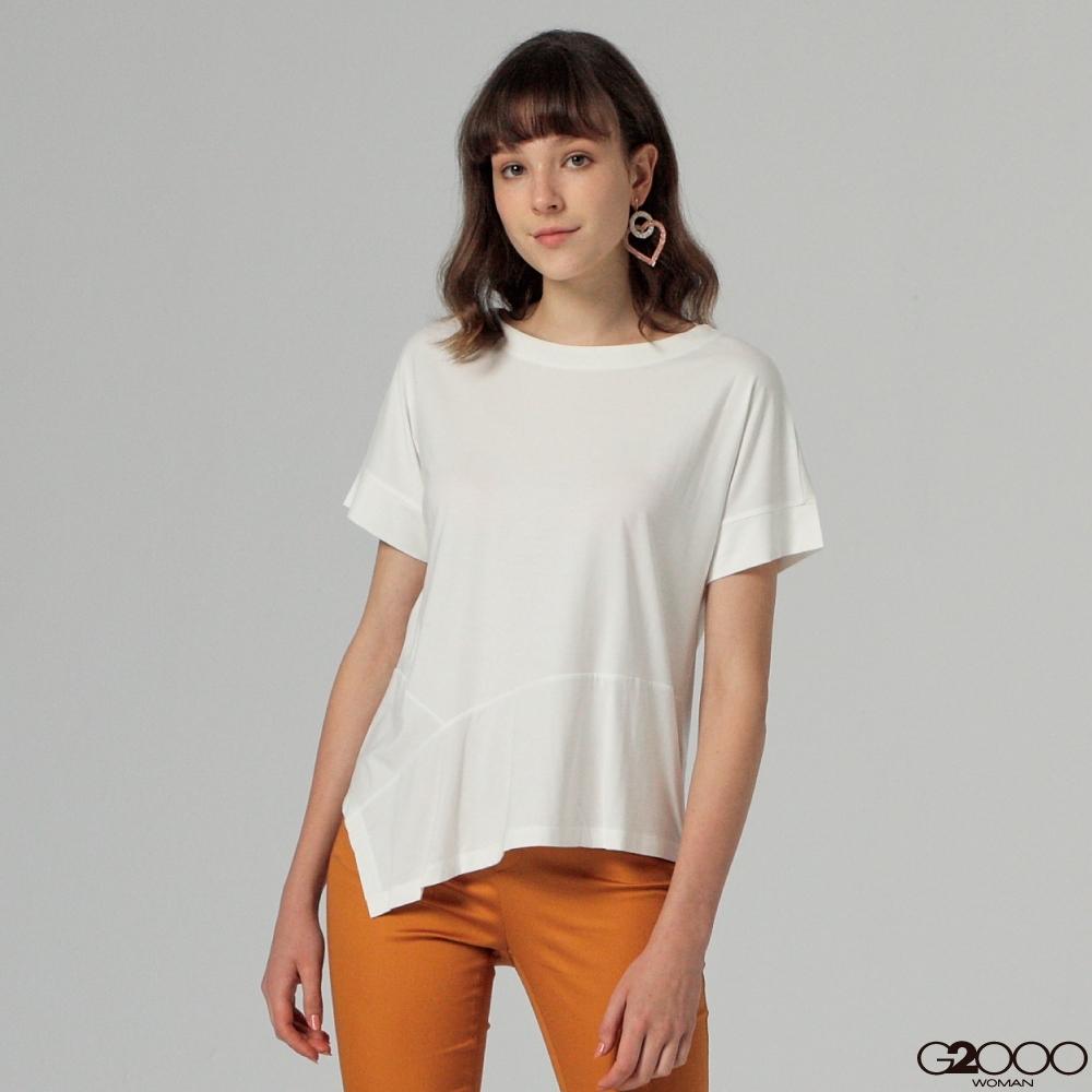 G2000素面短袖休閒T恤-白色