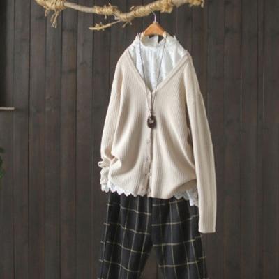 純棉V領針織開衫外套寬鬆洋氣薄版外搭上衣-設計所在