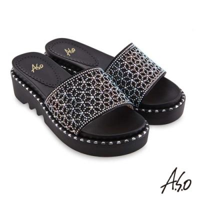 A.S.O時尚流行 夏季輕量幻彩閃色布燙鑽時髦拖鞋-黑