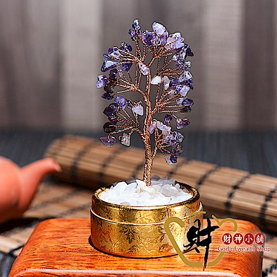 財神小舖  精巧水晶發財樹 紫水晶(小) (含開光) EM-7005