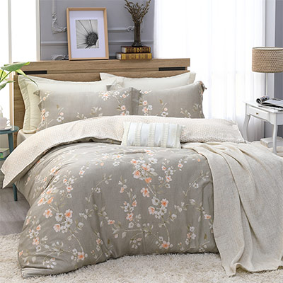 LASOL睡眠屋-300織/100%奧地利天絲 雙人兩用被床包四件組 茉香花園綠