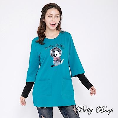 Betty Boop貝蒂 膠印拼接袖口袋長版上衣(共兩色)