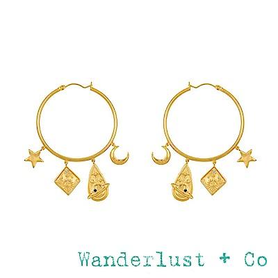 Wanderlust+Co 閃耀銀河星球耳環 星星月亮金色圓形耳環 ASTRA HOOP