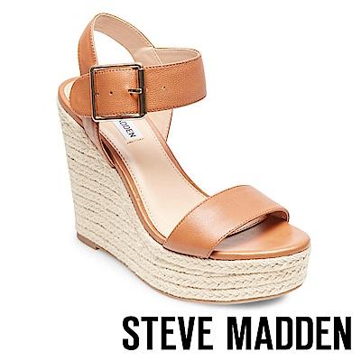 STEVE MADDEN-SANTORINI 一字草編楔型高跟涼鞋-咖啡