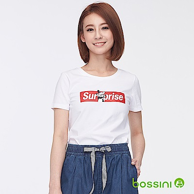 bossini女裝-印花短袖T恤29白