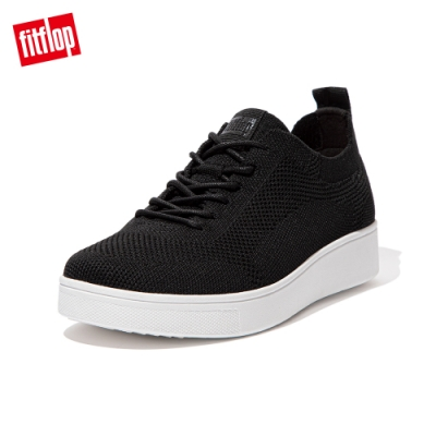 FitFlop RALLY TONAL KNIT SNEAKERS-繫帶針織休閒鞋 女(黑色)