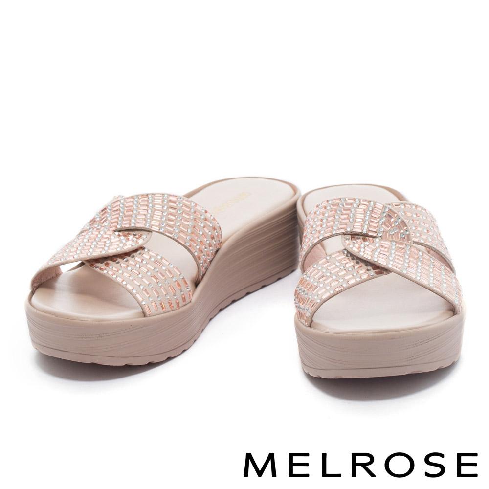 拖鞋 MELROSE 舒適百搭閃耀晶鑽交叉休閒厚底拖鞋-米