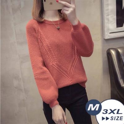 【LANNI 藍尼】蓬袖麻花圓領毛衣-3色(M-3XL)●