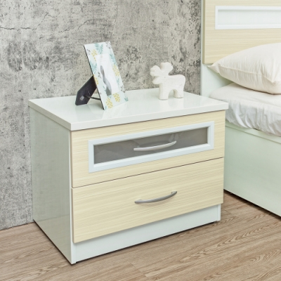 Birdie南亞塑鋼-2尺二抽塑鋼床頭櫃/抽屜收納櫃/置物櫃(黃橡木色)-60x43x49cm