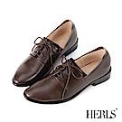 HERLS 時尚職人 全真皮素面鬆緊德比牛津鞋-深棕