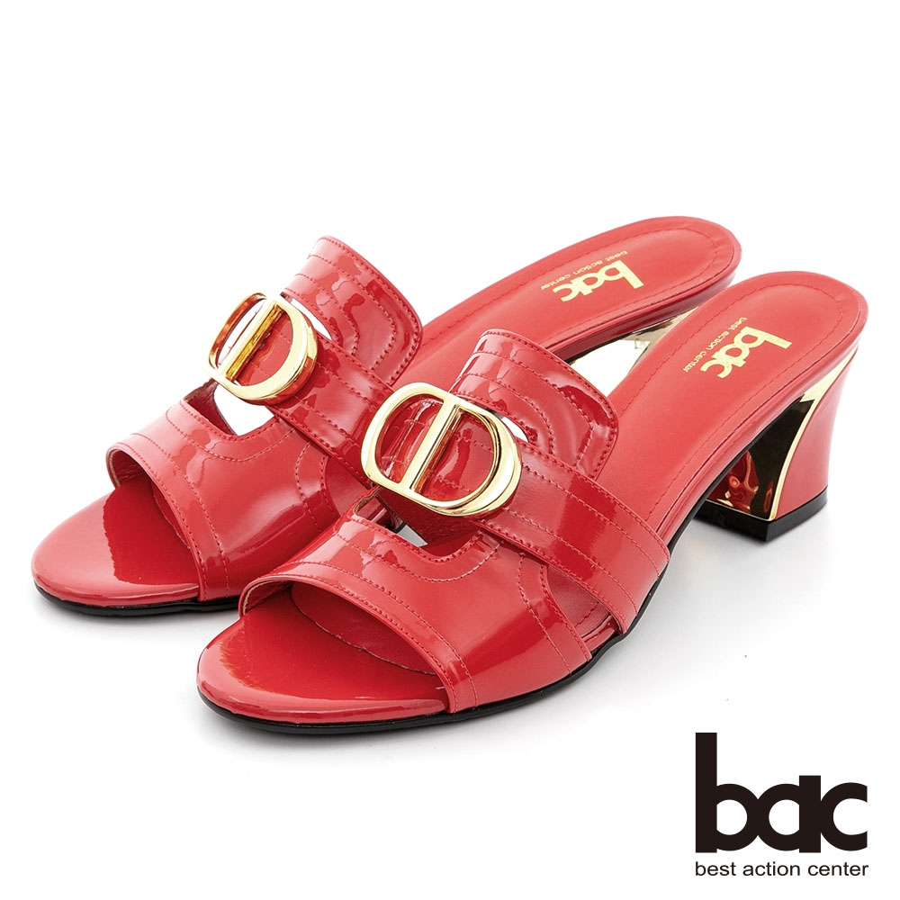 【bac】英文字母字樣金屬粗跟涼拖鞋-紅