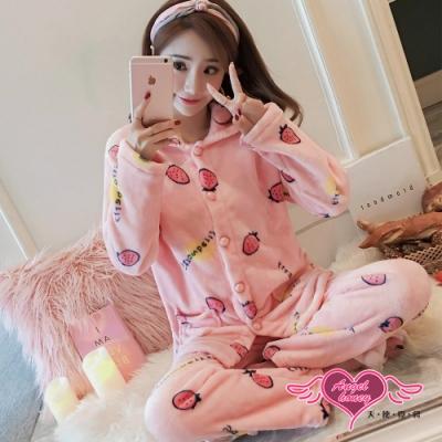保暖睡衣 草莓甜果 法蘭絨二件式長袖居家衣褲組(粉F) AngelHoney天使霓裳