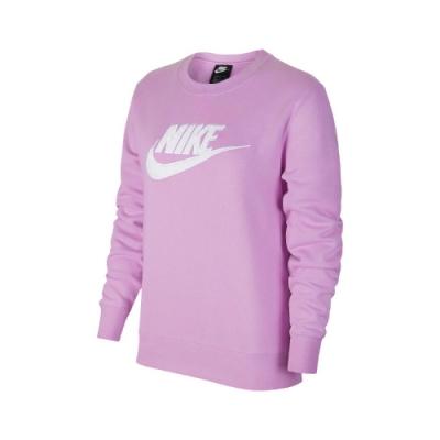 Nike T恤 Essential Sweatshirt 女款 大學T 圓領 基本 內刷毛 絨毛Logo 紫 白 DC5139616