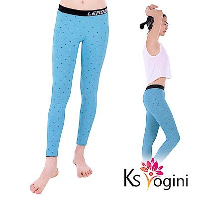 KS yogini 點點反光印 彈力修身運動褲 瑜珈褲 藍底大圓點