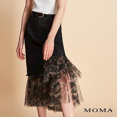 MOMA 迷彩網紗拼接牛仔裙