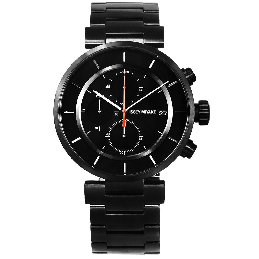 ISSEY MIYAKE 三宅一生 W系列 和田智設計師計時不鏽鋼手錶-鍍黑色/43mm