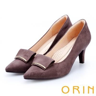 ORIN 優雅大女人 細金屬條飾絨布質感高跟鞋-可可