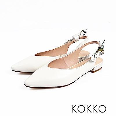 KOKKO - 觸及真心尖頭蝴蝶結真皮平底鞋 - 純真白