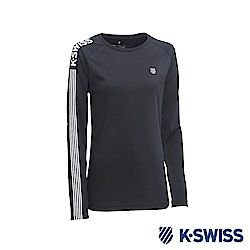 K-SWISS Long Sleeve T-Shirts 印花長袖T恤-男-黑