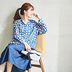 慢 生活 薄款肌理感柔棉襯衫-藍/黃