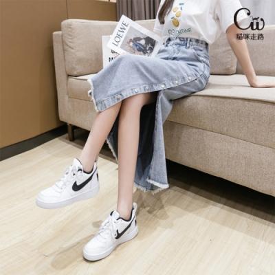 [CW.貓咪走路]簡約心機開衩金屬排扣牛仔長裙(1色S-XL/KDS-A116)