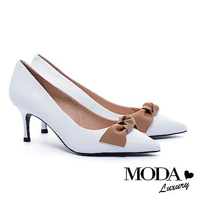 高跟鞋 MODA Luxury 簡約素雅百搭撞色蝴蝶結羊皮細高跟鞋-白