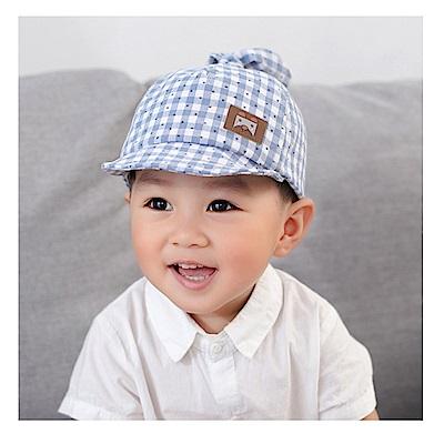 童趣春夏格子藍帥氣鴨舌帽
